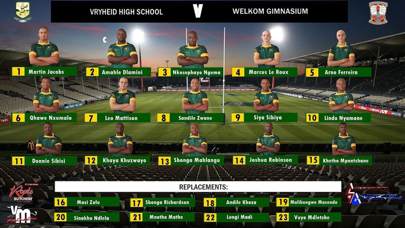 Vryheid High Rugby Team Selection Winter Sports Season